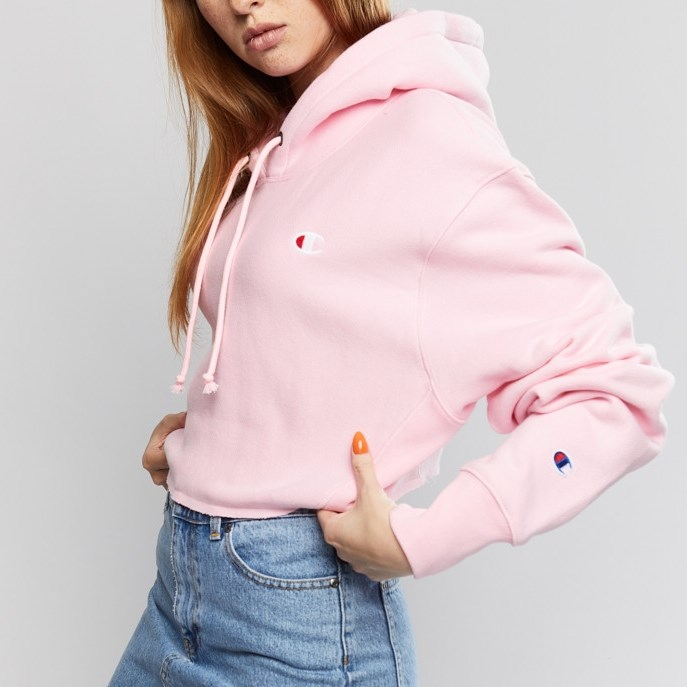 Champion Reverse Weave Cropped Cut-Off Hoodie - pzp pink candy