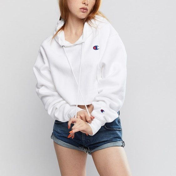 Champion Reverse Weave Cropped Cut-Off Hoodie - wit - white