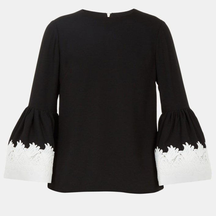Ted Baker Fluted Long Slv Tie Sleeve Top - 00 black