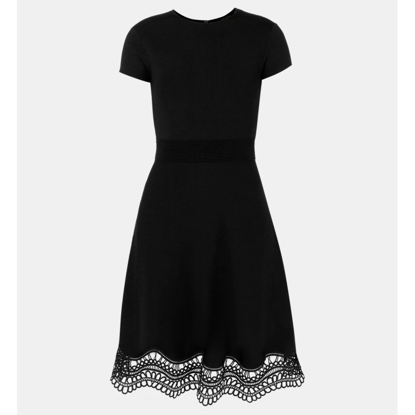 Ted Baker Lace Trim Dress - 00 black