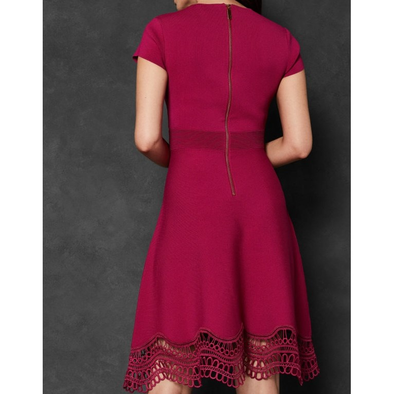 Ted Baker Lace Trim Dress - 56 bright pink