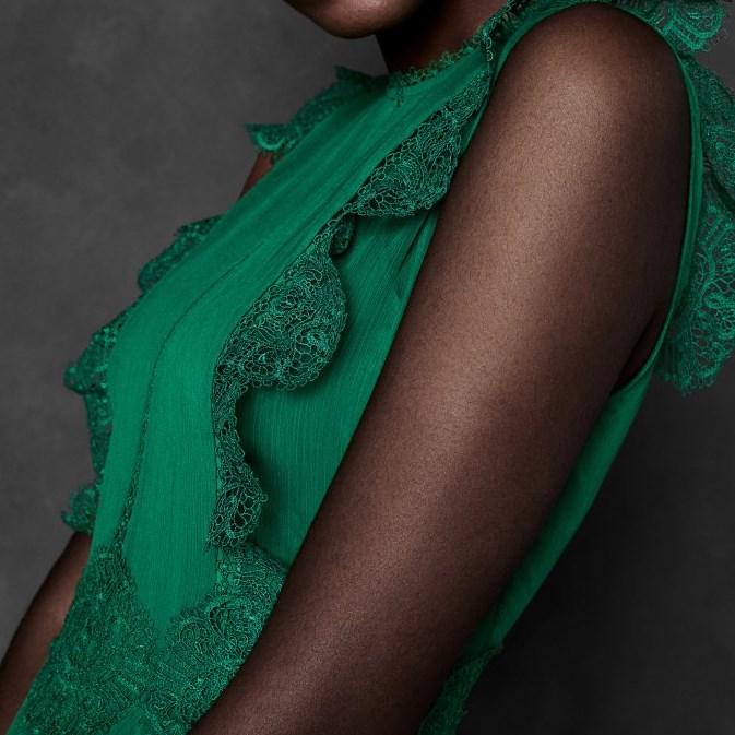 Ted Baker Frill Lace Midi Dress - 36 bright green