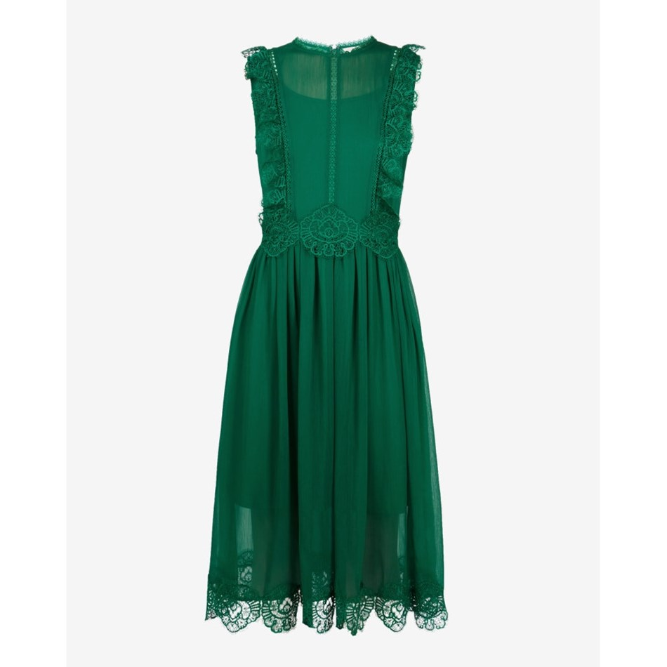 Ted Baker Frill Lace Midi Dress - 36 bright green