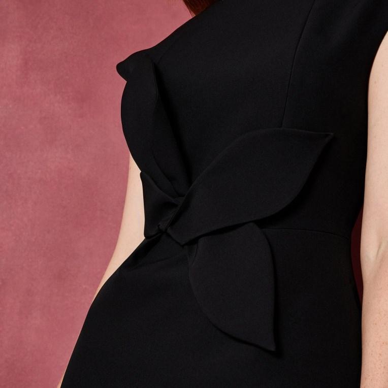 Ted Baker Cap Slv Tie Waist Tulip Dress - 00 black
