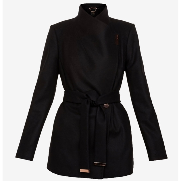36b72fd29 Ted Baker Short Wool Wrap Coat - 00 black