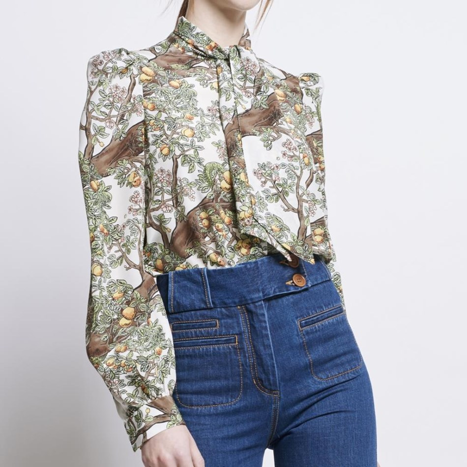 Karen Walker Babylon Blouse - Snake Crepe - off white