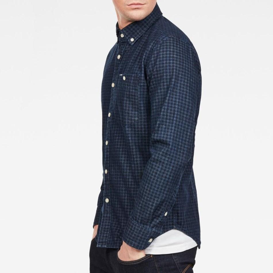 G-Star Core Btn Down 1Pkt Slim Shirt L\S - rinse sartho blu