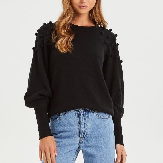 Cooper Street Charlotte Pearl Knit Top - black