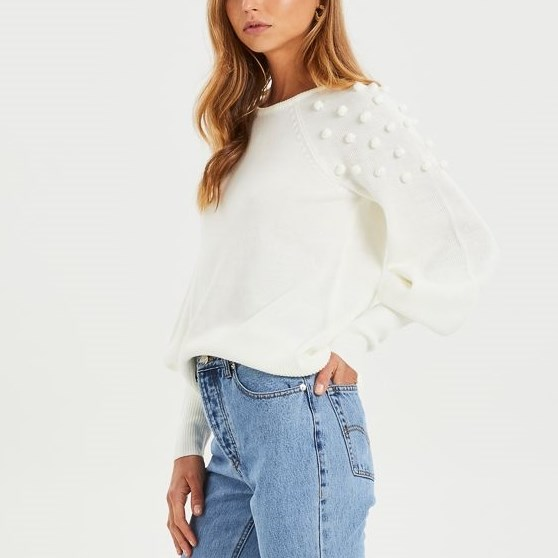 Cooper Street Charlotte Pearl Knit Top - ivory