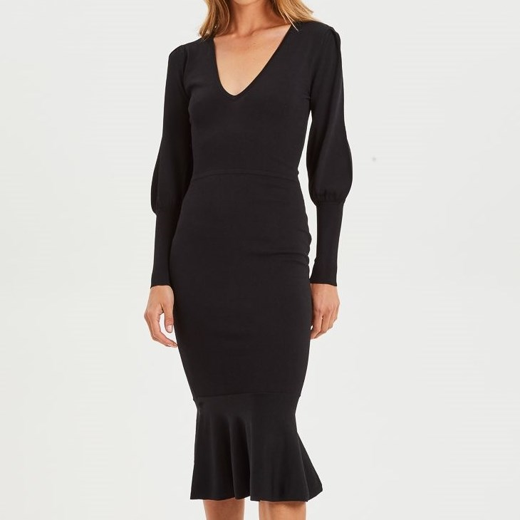 Cooper Street Alexandra Fitted Knit Dress - black