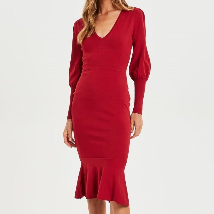 Cooper Street Alexandra Fitted Knit Dress - red spice