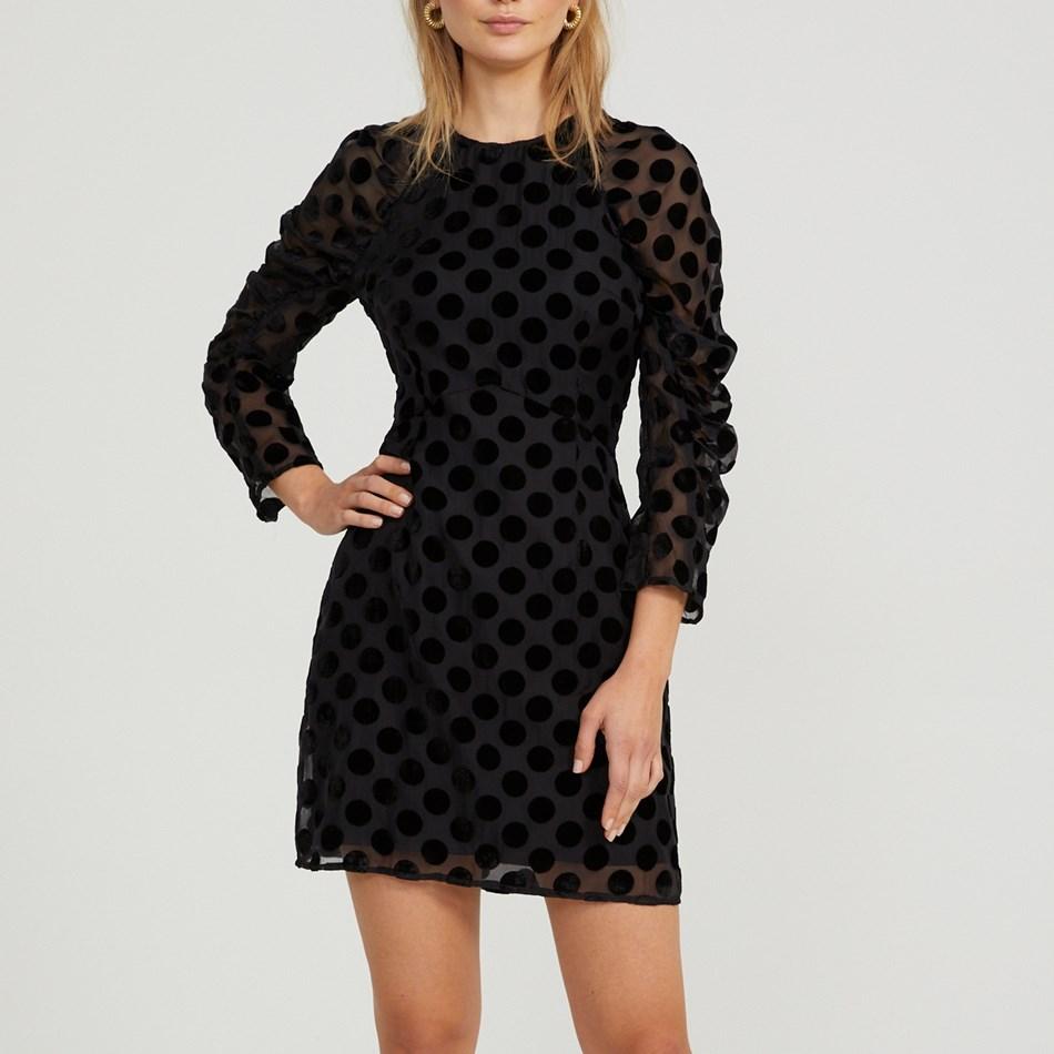 Cooper Street Spin Me Around Mini Velvet Spot Dress - black