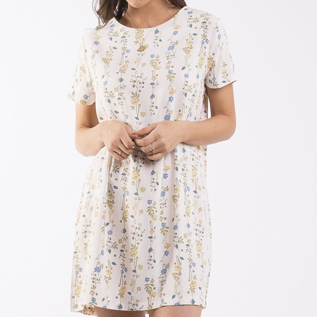 All About Eve Botanical Shift Dress - cream botanical