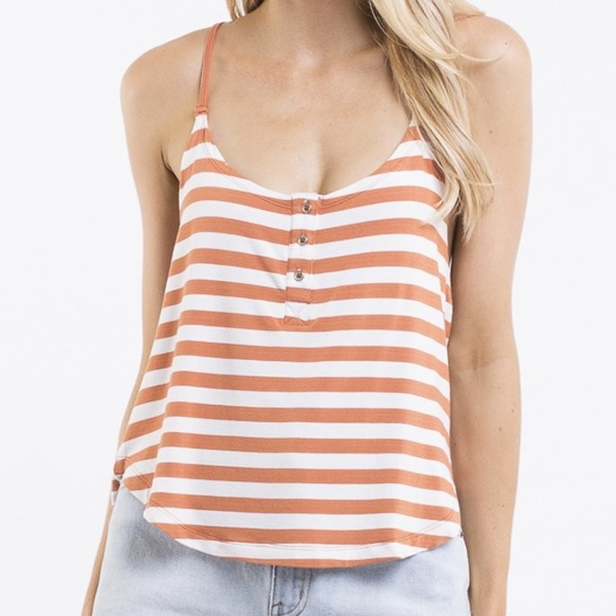All About Eve Joy Stripe Tank - rust stripe