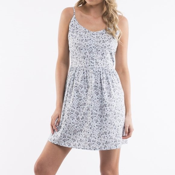 All About Eve Bianca Dress - blue ditsy print