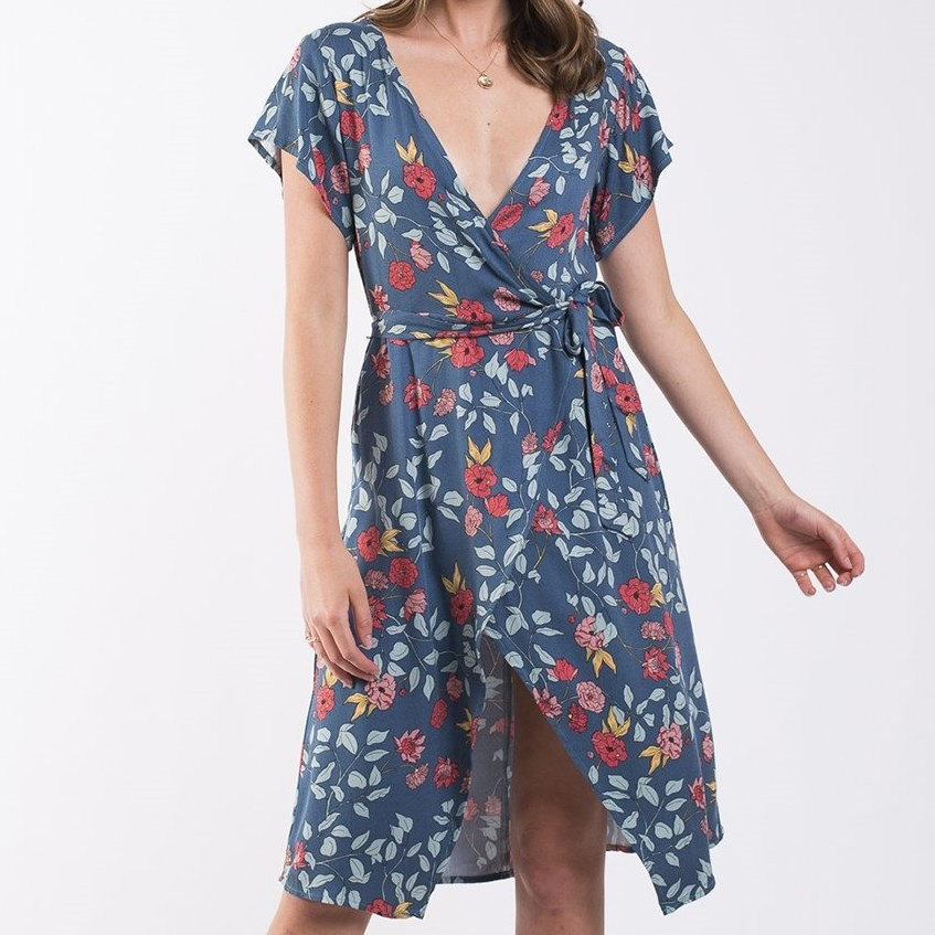 All About Eve Camellia Mock Wrap Dress - camellia floral