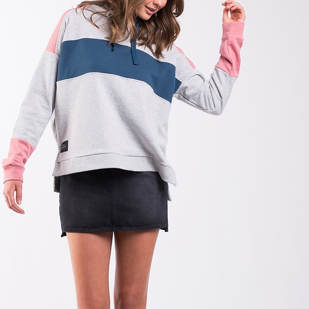 All About Eve Groupie Oversized Hoody - grey-marine-bloo