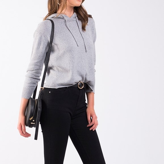 All About Eve Solid Knitted Hoody - grey marle