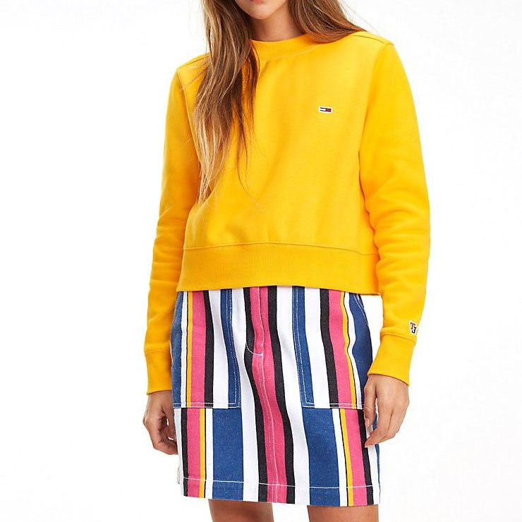 Tommy Jeans Side Seam Detail Crew - radiant yellow