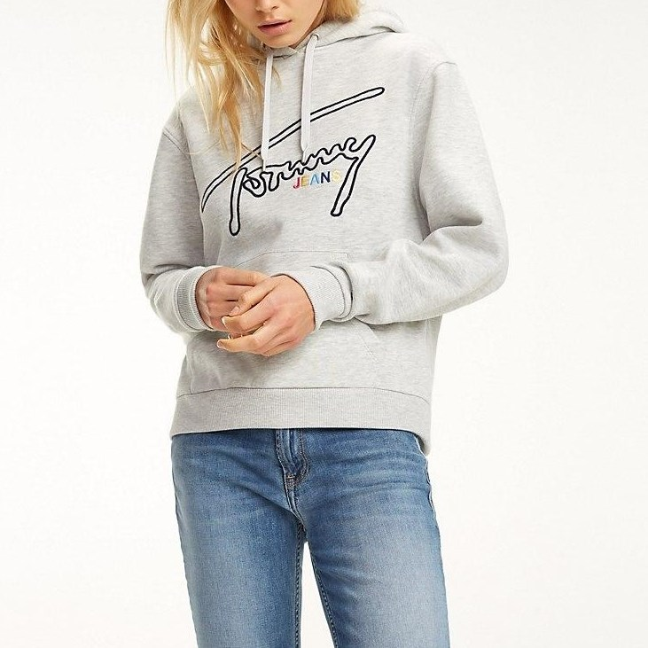 Tommy Jeans Tommy Signature Hoodie - lt grey htr