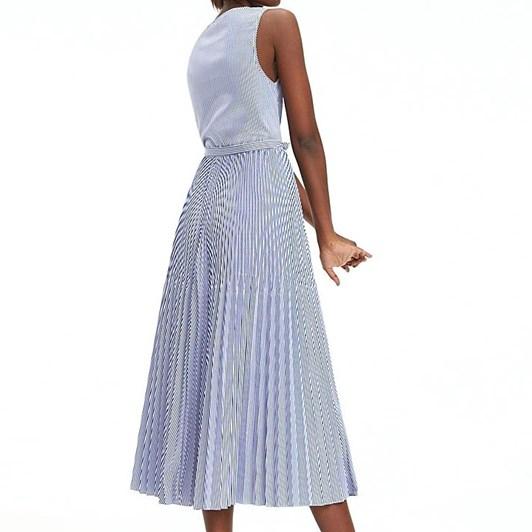 Tommy Hilfiger Stripe Pleated Midi Dress