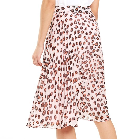 Tommy Jeans Pleated Leopard Print Midi Skirt