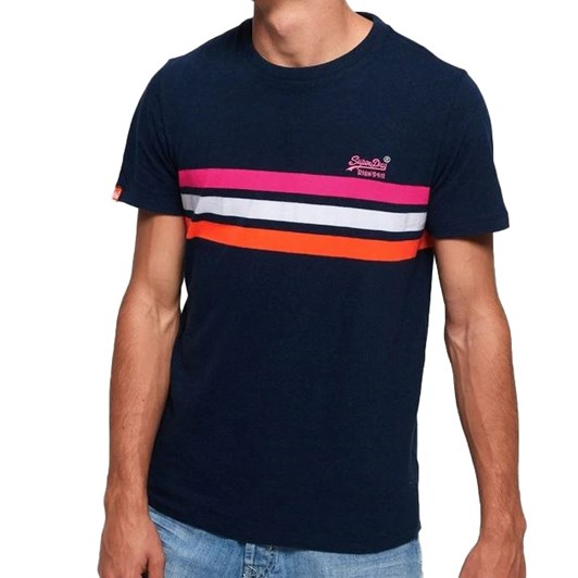 Superdry O L Fluro Chestband Stripe Tee