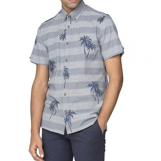 Ben Sherman Ss Striped Palm Print Shirt