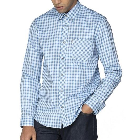 Ben Sherman Ls Satin Stripe Gingham Shirt