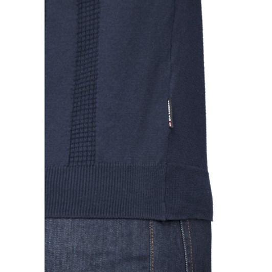 Ben Sherman Textured Stripe Front Polo Knit