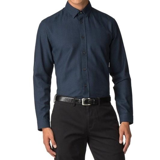 Ben Sherman L/S Herringbone Polka Shirt