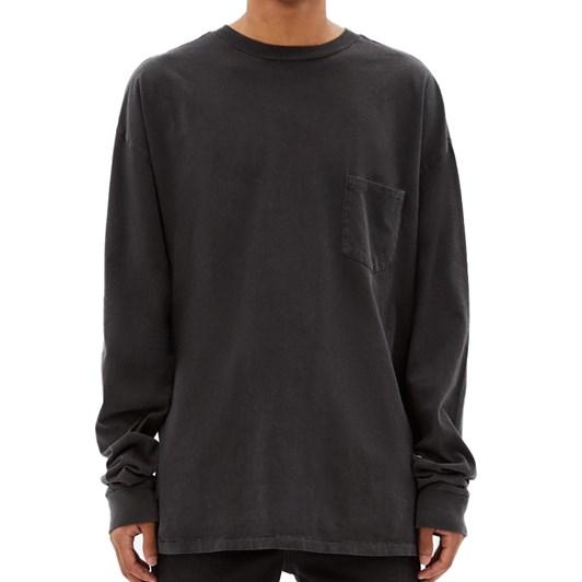 Ksubi Cache Pocket Long Sleeve T-Shirt Back To Black