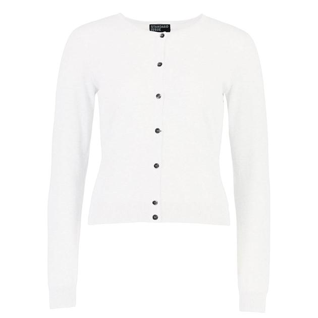 Standard Issue Cotton Crew Cardi - white