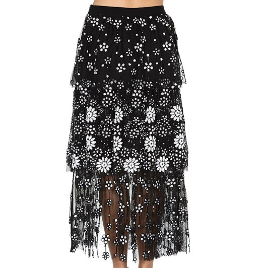 Self-Portrait Deco Sequin Tiered Midi Skirt