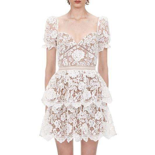 Self-Portrait Flower Lace Mini Dress