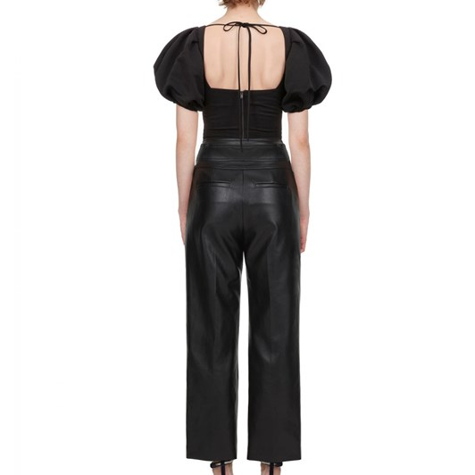 Self-Portrait Faux Leather High Waisted Trousers