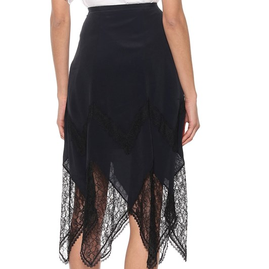 See By Chloé Crepe De Chine And Lace Skirt