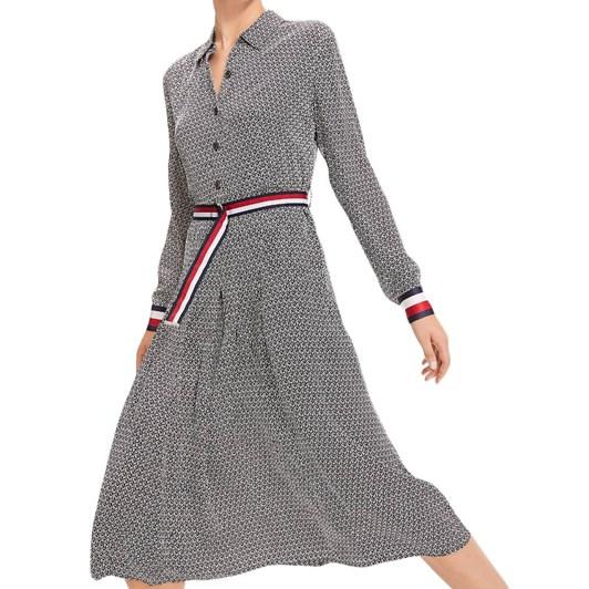 Tommy Hilfiger Monogram Print Belted Viscose Dress