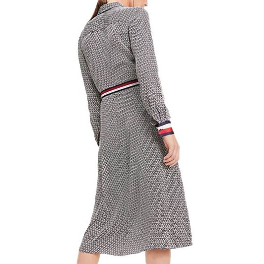Tommy Hilfiger Monogram Print Belted Viscose Dress