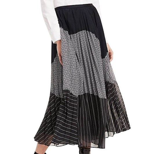 Tommy Hilfiger Pleated Contrast Pattern Midi Skirt