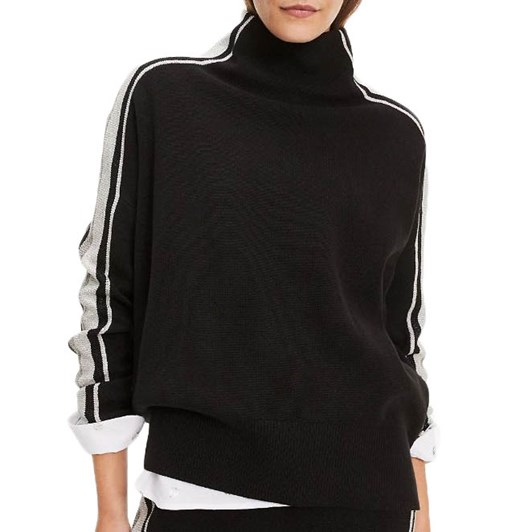 Tommy Hilfiger Mock Turtleneck Metallic Sidestripe Jumper
