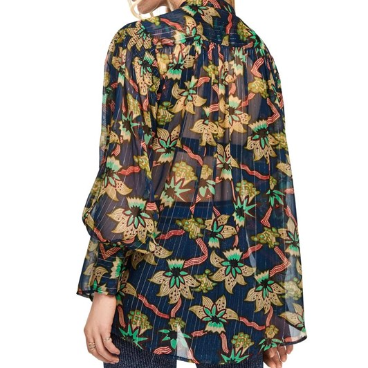 Maison Relaxed Fit Sheer Printed L/S Shirt