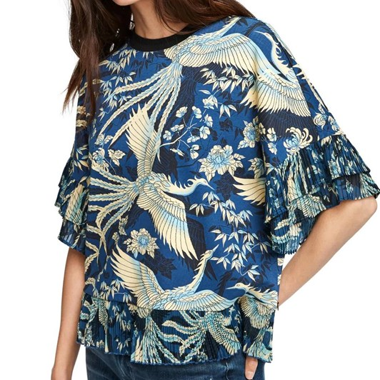 Maison Printed Tee With Pleat
