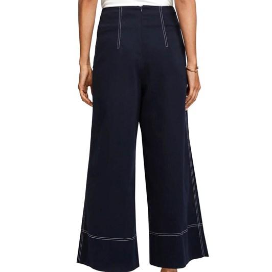 Maison Contrast Stitch Wide Leg Trousers