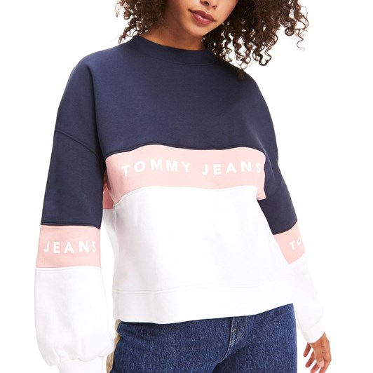 Tommy Jeans Colour-Blocked Crew Neck Sweater