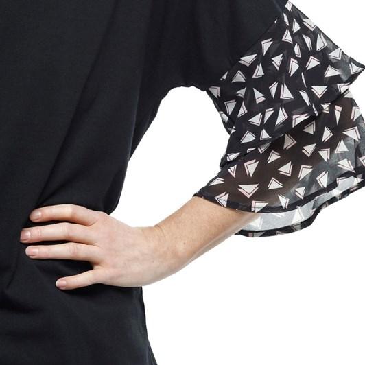 Home-Lee Frill Sleeve Tee - Triangle Print