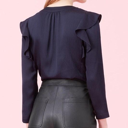 Rebecca Taylor L/S Silk Ruffle Top