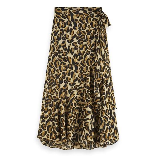Maison Animal Print Ruffle Skirt