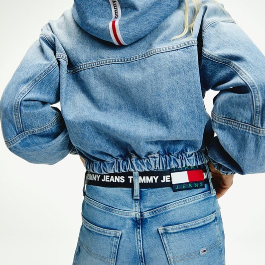 Tommy Jeans Hoodie Cropped Denim Jacket Crlt