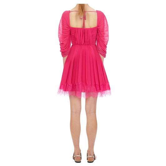 Self Portrait Fuchsia Chiffon Mini Dress